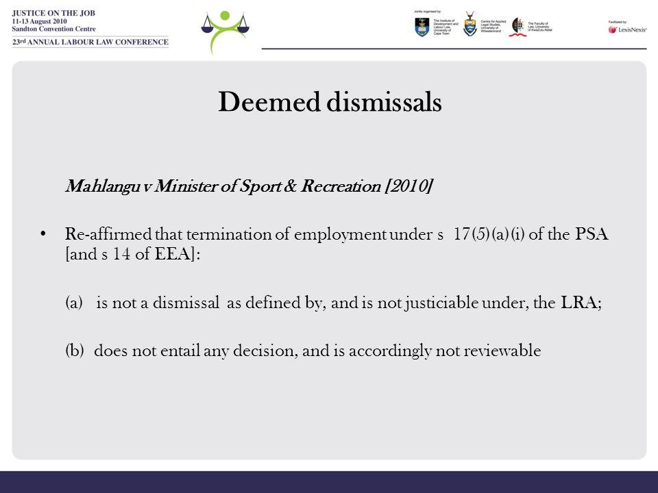Deemed dismissals Mahlangu v Minister of Sport & Recreation [2010]